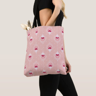 Abstract Feathers With Red Hearts Pattern Tote Bag