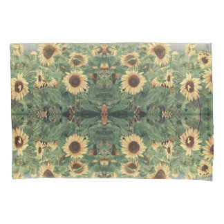 Abstract Field Of Giant Yellow Sunflowers Pillowcase