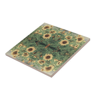 Abstract Field Of Giant Yellow Sunflowers Tile