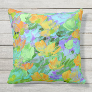 Abstract Field of Yellow Orange Poppies Pillow