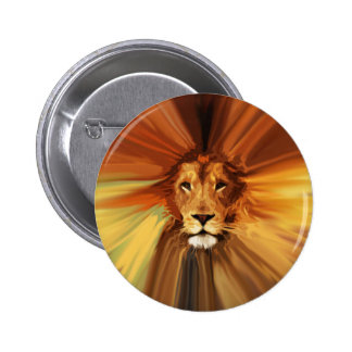 Abstract Fierce Lion 2 Inch Round Button
