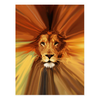 Abstract Fierce Lion Postcard