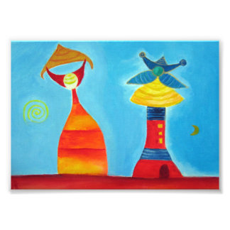 Abstract Figures Love Art Painting Photo Print