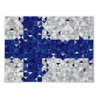 Abstract Finland Flag, Finnish Colors Poster