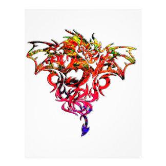 Abstract Fire Breathing Tribal Dragon Letterhead