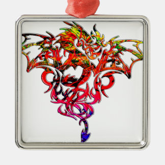 Abstract Fire Breathing Tribal Dragon Metal Ornament
