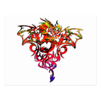 Abstract Fire Breathing Tribal Dragon Postcard