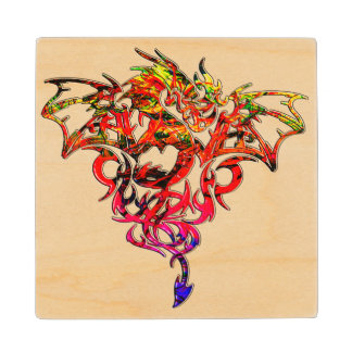 Abstract Fire Breathing Tribal Dragon Wood Coaster