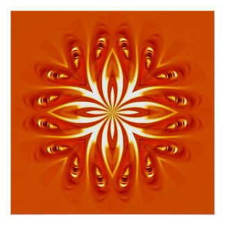 abstract fire flower poster