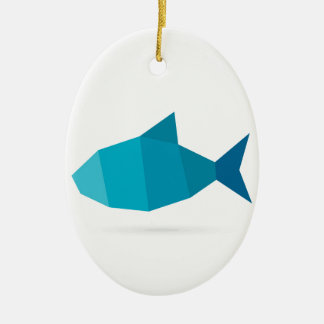 Abstract fish ceramic oval ornament