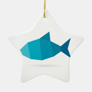 Abstract fish ceramic star ornament