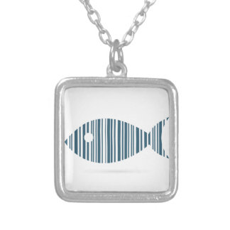 Abstract fish silver plated necklace