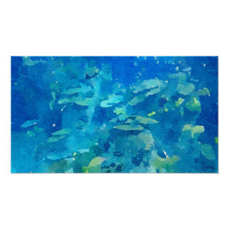 Abstract Fish Tropical Watercolor Poster