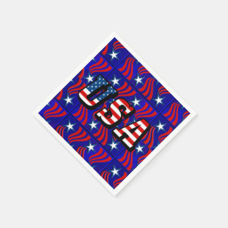 Abstract Flag Pattern with USA Text Paper Napkins