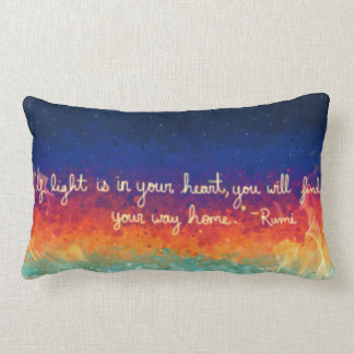 Abstract Flame Rumi Quote Lumbar Pillow