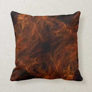 Abstract Flaming Black and Orange Fractal Pillow