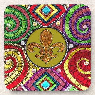 Abstract Fleur De Lis Tile mosaic Colorful Coaster