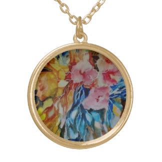 Abstract floral 2 gold plated necklace