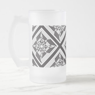 abstract floral black white frosted glass beer mug