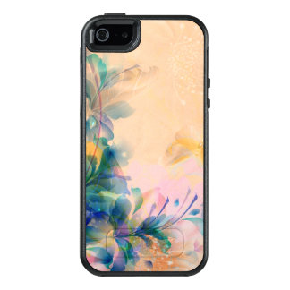 Abstract Floral Blue And Beige OtterBox iPhone 5/5s/SE Case
