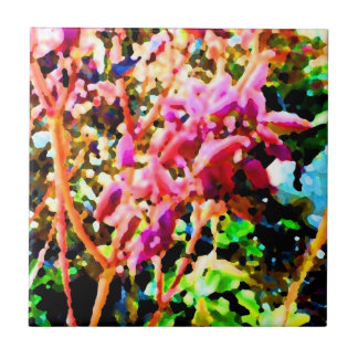 abstract floral cactus flowers pink tile