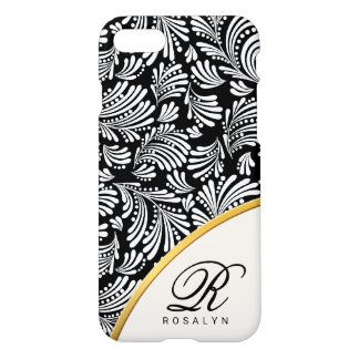 Abstract Floral Chic Black White Ladies Monogram iPhone 8/7 Case