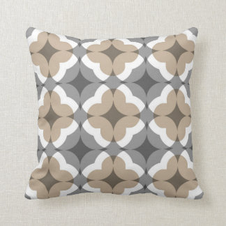 Abstract Floral Clover Pattern in Tan and Grey Throw Pillow