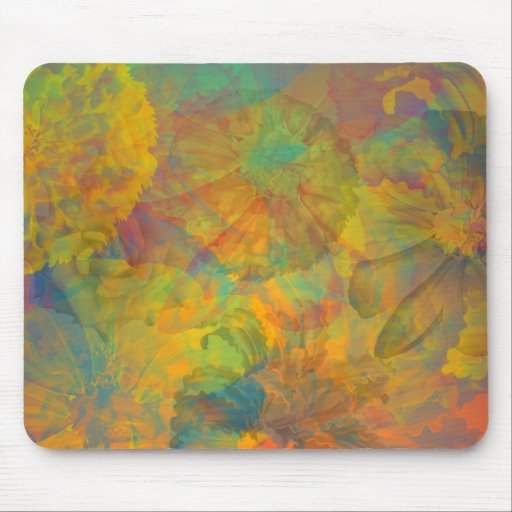 Abstract Floral Collage Mouse Pad