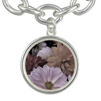Abstract Floral Dahlia Flowers Charm Bracelet
