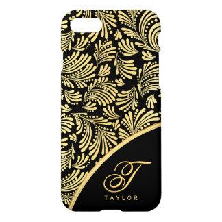 Abstract Floral Elegant Black Gold Ladies Monogram iPhone 8/7 Case