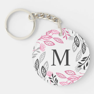 Abstract Floral Frame Monogram Keychain