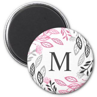 Abstract Floral Frame Monogram | Magnet