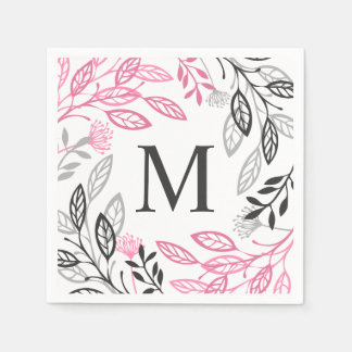 Abstract Floral Frame Monogram | Napkin Paper Napkin
