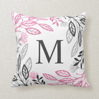 Abstract Floral Frame Monogram | Throw Pillow