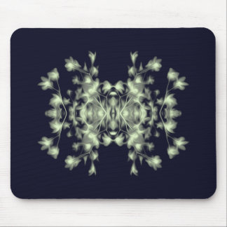 Abstract Floral Graphic Pattern Blue and Green Mouse Pad