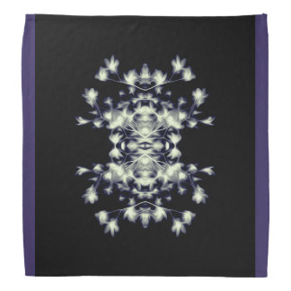 Abstract Floral Graphic Pattern Blue Black White Bandana