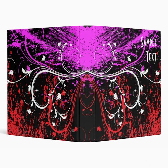 Abstract Floral Grunge 3 Ring Binder