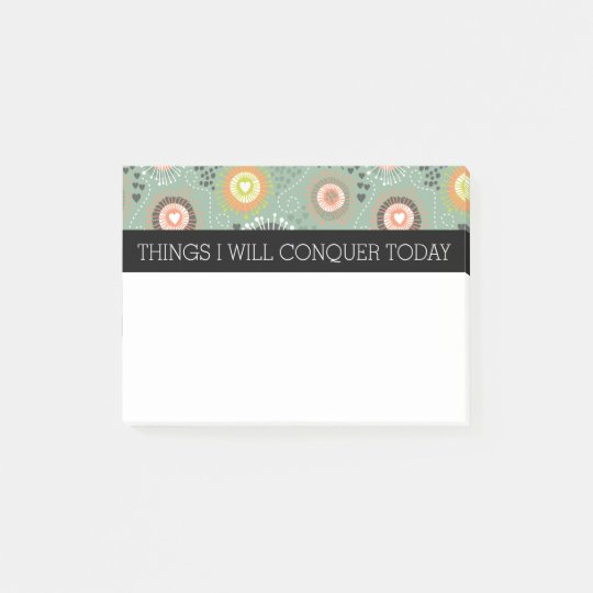 Abstract Floral & Hearts To Do List Post-it Notes