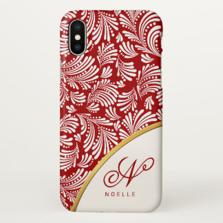 Abstract Floral Holiday Red Ladies Monogram iPhone X Case