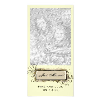 Abstract Floral Just Married Photo Card