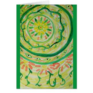 Abstract floral mandala watercolor card