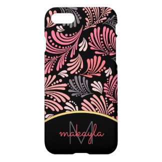 Abstract Floral Modern Damask Ladies Monogram iPhone 8/7 Case