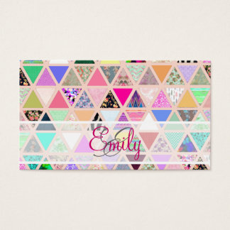 Abstract Floral Monogram Triangle Pastel Patchwork Business Card