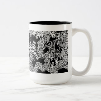 Abstract Floral Mug in Black and White