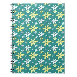Abstract Floral Notebook Aqua Green