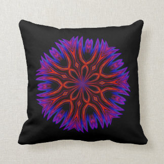 Abstract Floral Orange and Violet Throw Pillow
