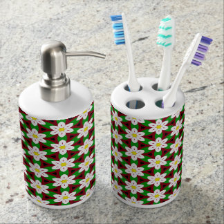 Abstract floral pattern bathroom set