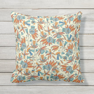 Abstract floral pattern design outdoor pillow