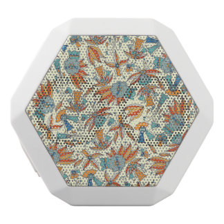 Abstract floral pattern design white bluetooth speaker