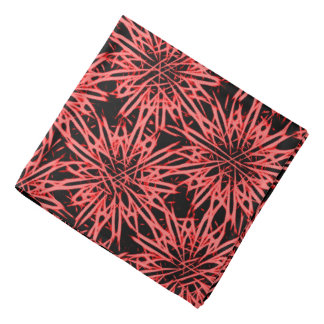 Abstract floral pattern, digital flowers on red bandanna